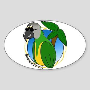 Cartoon Bird Senegal Oval Sticker