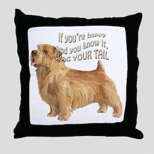 happy norfolk terrier Throw Pillow