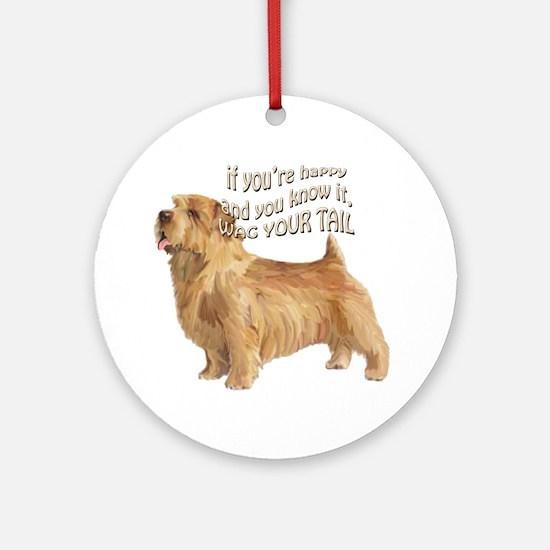 happy norfolk terrier Ornament (Round)