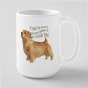 happy norfolk terrier Large Mug