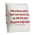 Rhyming Judge Brett Burlap Throw Pillow