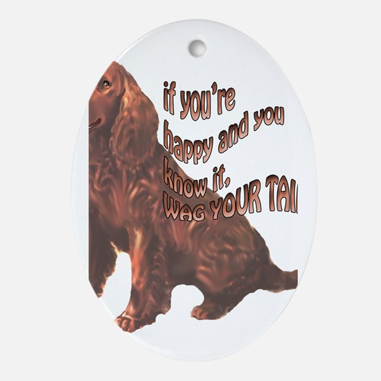 Happy American Water Spaniel Oval Ornament