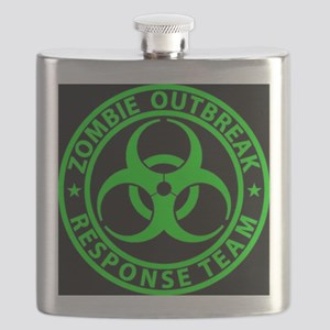 Zombie Outbreak Response Team Sign Flask