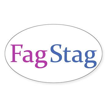 Fag Stag Oval Sticker (10 pk)