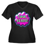 Cool Beans! Women's Plus Size V-Neck Dark T-Shirt