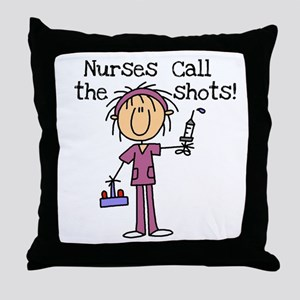 Nurses Call the Shots Throw Pillow