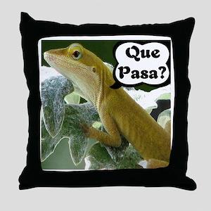 Que Pasa Anole Throw Pillow