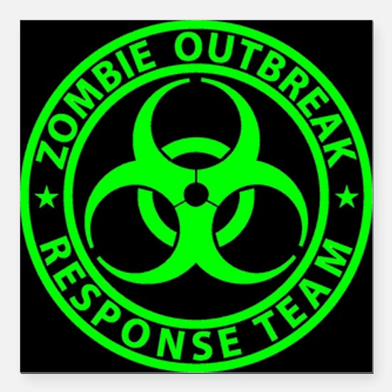 Zombie Outbreak Response Square Car Magnet 3""