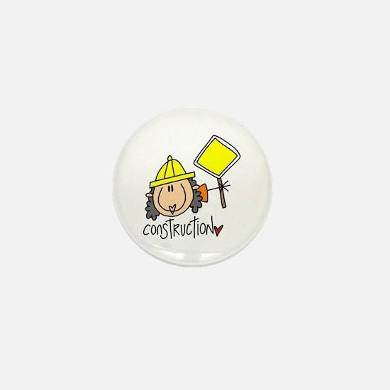 Female Construction Worker Mini Button