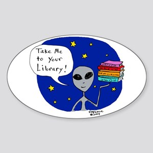 Take Me To Your Library Oval Sticker