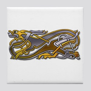 2 Dogs silver and gold Tile Coaster