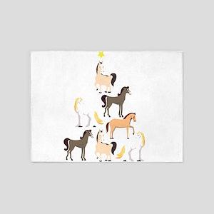 Horse Christmas Tree Cute Equestria 5'x7'Area Rug
