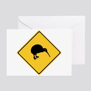 Caution With Kiwis, New Zealand Greeting Cards (Pk