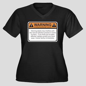 Warning Label Women's Plus Size V-Neck Dark T-Shir