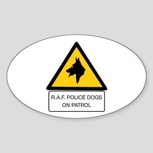 R.A.F. Police Dogs On Patrol, UK Oval Sticker