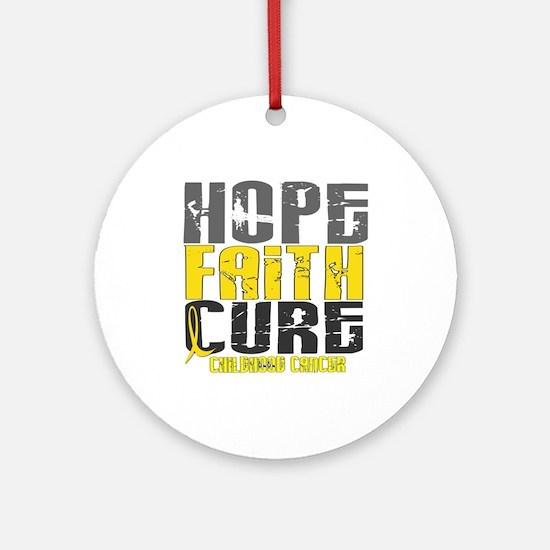 HOPE FAITH CURE Childhood Cancer Ornament (Round)