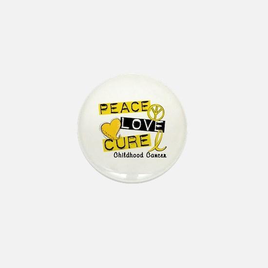 PEACE LOVE CURE Childhood Cancer Mini Button