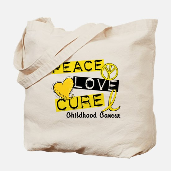 PEACE LOVE CURE Childhood Cancer Tote Bag