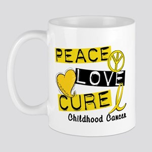 PEACE LOVE CURE Childhood Cancer Mug