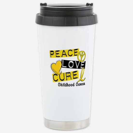 PEACE LOVE CURE Childhood Cancer Stainless Steel T
