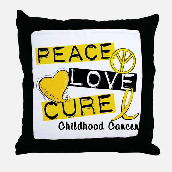 PEACE LOVE CURE Childhood Cancer Throw Pillow