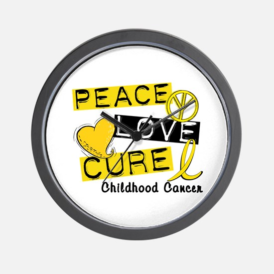 PEACE LOVE CURE Childhood Cancer Wall Clock