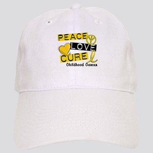 PEACE LOVE CURE Childhood Cancer Cap