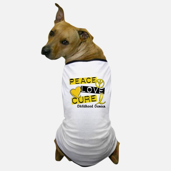 PEACE LOVE CURE Childhood Cancer Dog T-Shirt