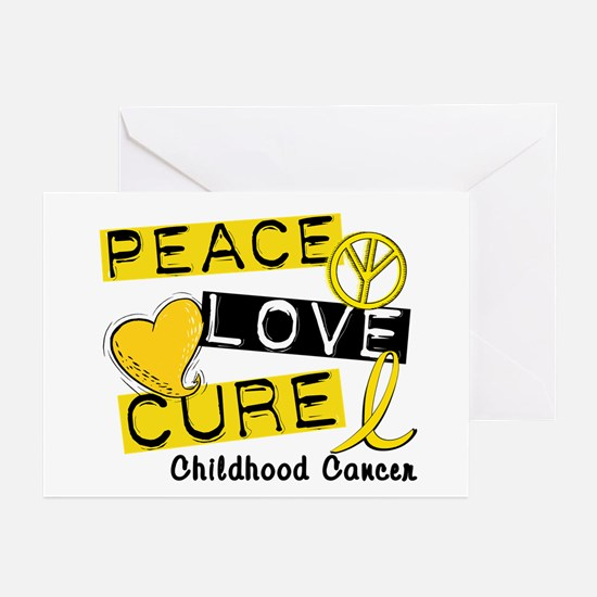 PEACE LOVE CURE Childhood Cancer Greeting Cards (P