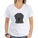Fun Black Lab Dog Wms V-Neck T-Shirt