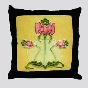Mission Style Rose Art Tile 18x18 Throw Pillow