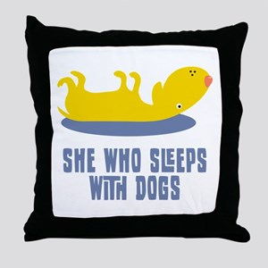 Sleeps With Dogs Throw Pillow
