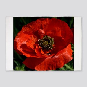 Vibrant Red Poppy 5'x7'Area Rug