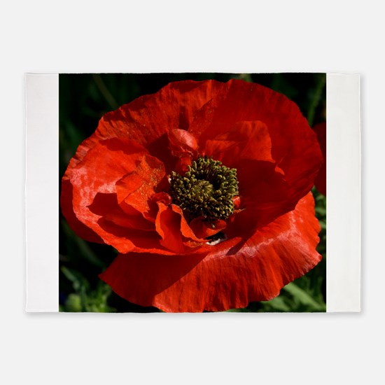 Vibrant Red Poppy 5'x7'Area Rug