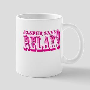 Jasper Says Relax (rustic) pink Mug