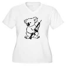 Koala (Black) Women's Plus Size V-Neck T-Shirt