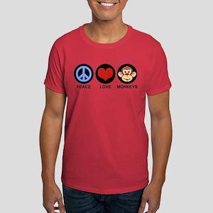 Peace Love Monkeys Dark T-Shirt