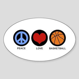 Peace Love Basketball Oval Sticker