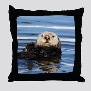Wild Female Otter Throw Pillow