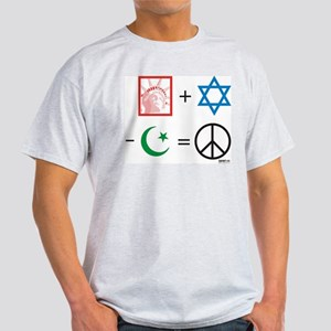 USA + Israel - Islam = Peace Ash Grey T-Shirt