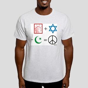USA + Israel - Islam = Peace Ash Grey T-Shirt