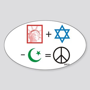 USA + Israel - Islam = Peace Oval Sticker