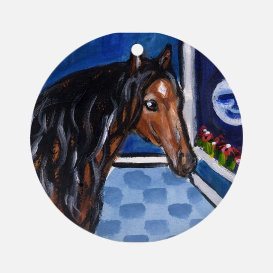 Lusitano Horse sees moon Ornament (Round)