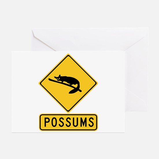Caution With Possums, Australia Greeting Cards (Pk