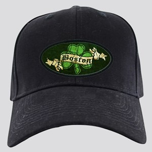 Retro Boston Shamrock Black Cap