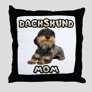 Wirehaired Dachshund Mom Throw Pillow