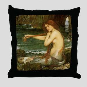 Mermaid by JW Waterhouse Throw Pillow