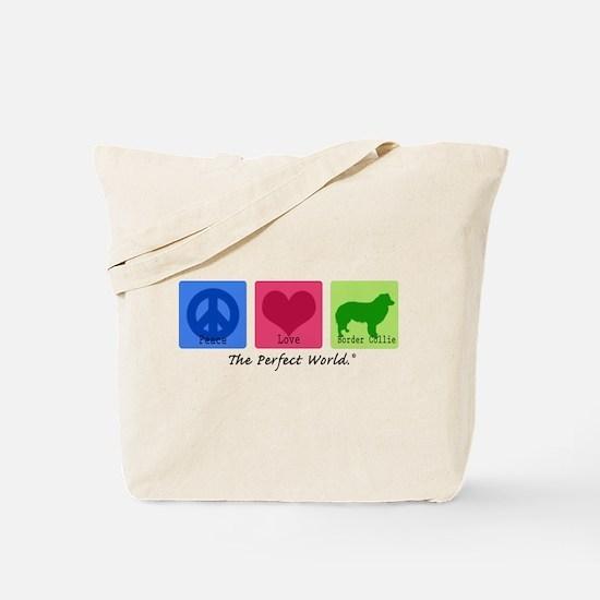 Peace Love Border Collie Tote Bag