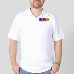 Peace Love Border Terrier Golf Shirt