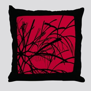 Black Branches on Red Throw Pillow